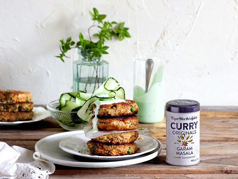 GARAM MASALA CHICKPEA PATTIES WITH HERBED YOGHURT DRIZZLE