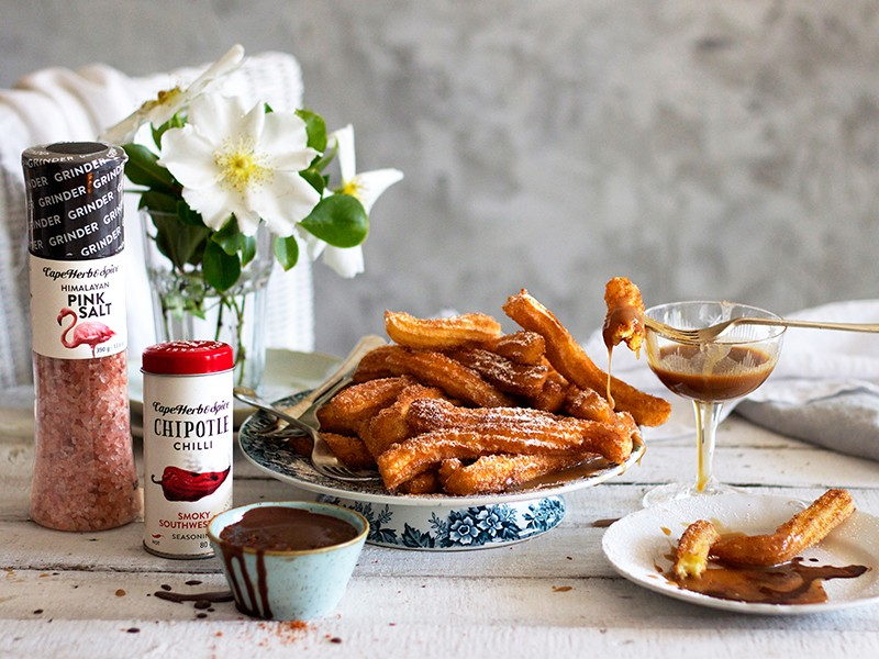 CHURROS WITH CHILLI CHOCOLATE & SALTED BUTTERSCOTCH