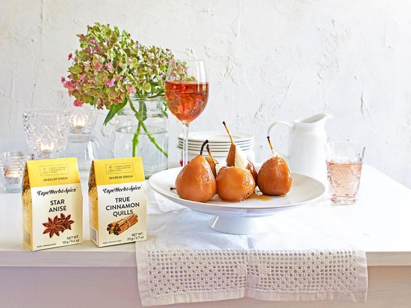 TEA SPICED PEARS WITH BRANDY CREAM