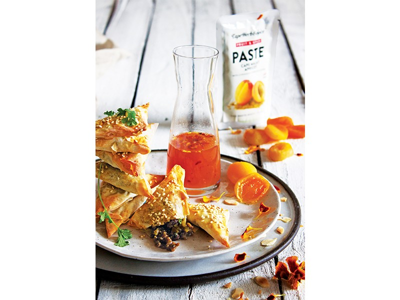 Cape Malay Phyllo Samoosas with Apricot Dipping Sauce